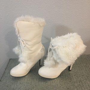 Shoes - Boutique Vegan Leather Faux Fur White Boots